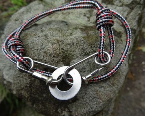 Red Black Rope Carabiner Bracelet Washer