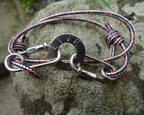 Red Black Rope Carabiner Bracelet Stamped