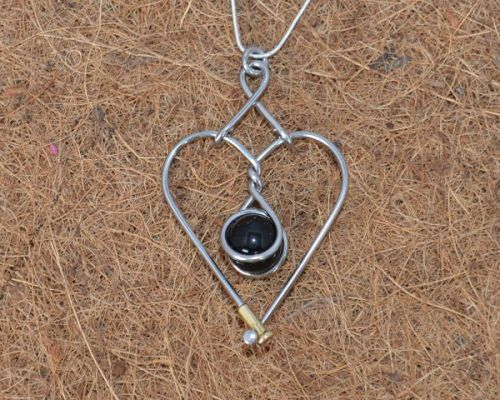 Black Marble Heart Necklace