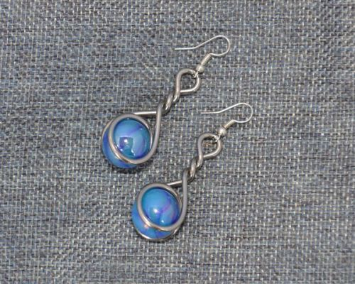 Metallic Blue Caged Marble Earrings