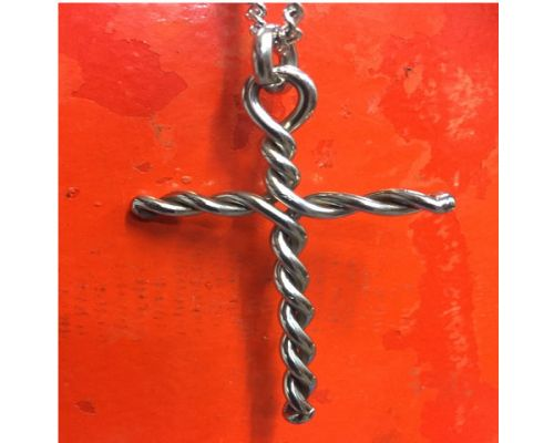 Stainless Steel Cross on Stainless Steel Chain orange